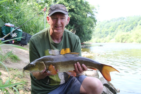 Colin with his first Wye barbel