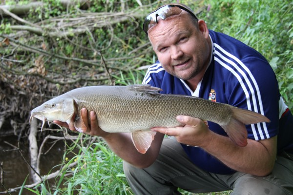 Shaun and 8lbs 15oz barbel
