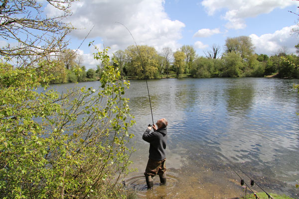 Mark playing his first tench of the season
