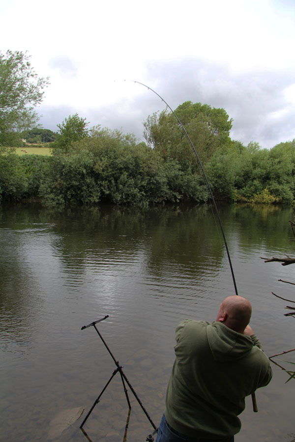 Carl playing a barbel