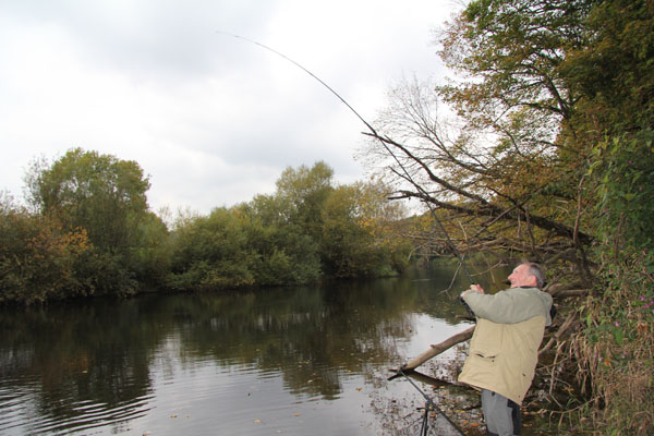 Roger playing a big barbel